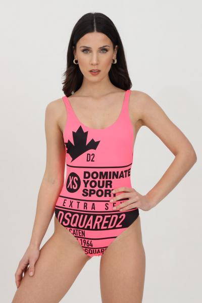 DSQUARED2 Beachwear donna rosa dsquared2 costume intero in tinta unita con maxi stampa frontale a contrasto  Abbigliamento da spiaggia | D6BGC2940670