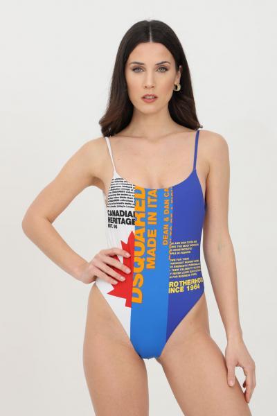DSQUARED2 Beachwear donna blu dsquared2 costume intero tricolore con stampa frontale e bretelle sottili  Abbigliamento da spiaggia | D6BGD2970418