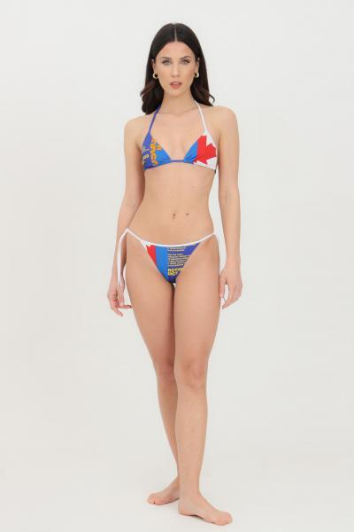 DSQUARED2 Beachwear costume donna azzurro dsquared2 top mare con chiusura laterale. Stampa frontale tricolore  Abbigliamento da spiaggia | D6BX62970418
