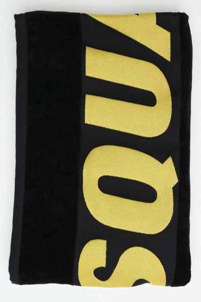 DSQUARED2 Telo mare unisex nero-giallo dsquared2 in cotone con maxi logo ricamato a constrasto  Abbigliamento da spiaggia | D7P002930014