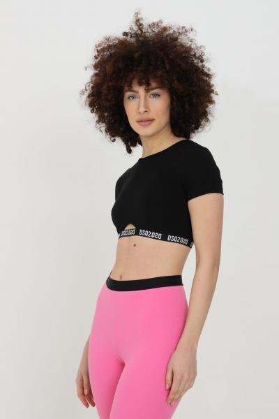 DSQUARED2 T-shirt donna nero dsquared2 a manica corta con banda logata e taglio corto. Modello slim  T-shirt | D8M3E3520010