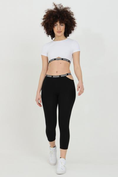 DSQUARED2 Leggings donna nero dsquared2 a vita alta con fascia logata e tagli laterali. Modello slim  Leggings | D8N433520010