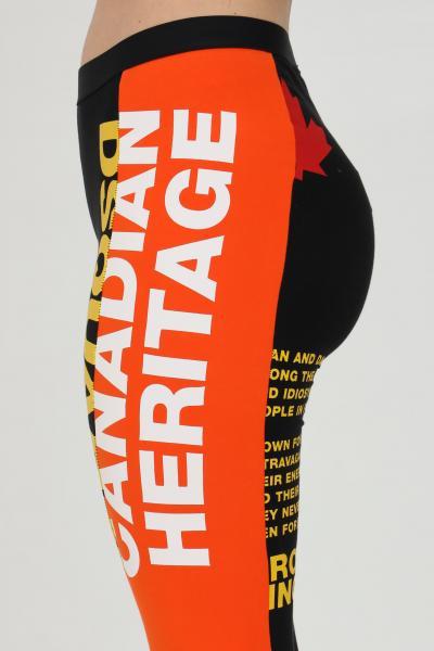 DSQUARED2 Leggings donna nero-arancio dsquared2 con stampe lettering laterali. Modello slim  Leggings | D8N473530018