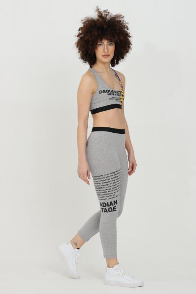 DSQUARED2 Leggings donna grigio-viola dsquared2 con stampe lettering laterali. Modello slim  Leggings | D8N473530038