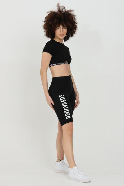 DSQUARED2 Shorts donna nero dsquared2 sport con stampa a contrasto. Molla in vita. Modello a vita alta  Shorts | D8N603540010