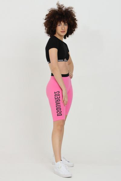 DSQUARED2 Shorts donna fucsia dsquared2 sport con stampa a contrasto. Molla in vita. Modello a vita alta  Shorts | D8N603540670