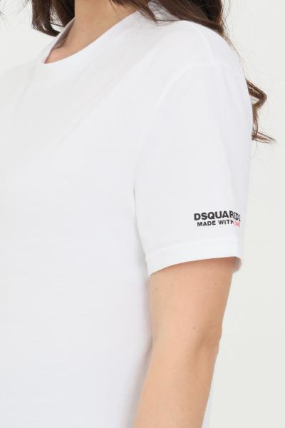 DSQUARED2 T-shirt unisex bianco dsquared2 a manica corta con logo sulla manica  T-shirt | D9M203520100