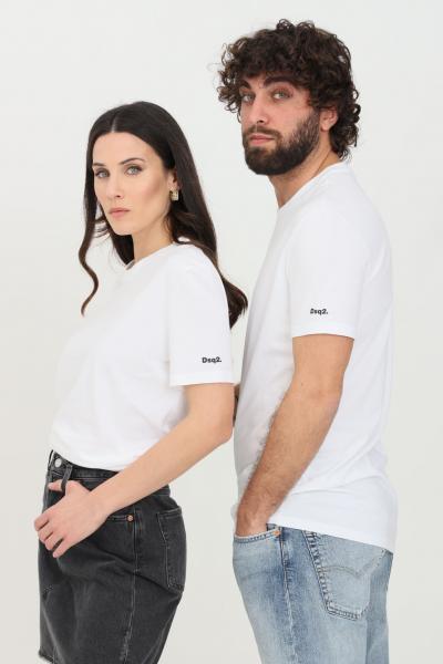 DSQUARED2 T-shirt unisex bianco dsquared2 a manica corta con logo sulla manica  T-shirt | D9M203570100