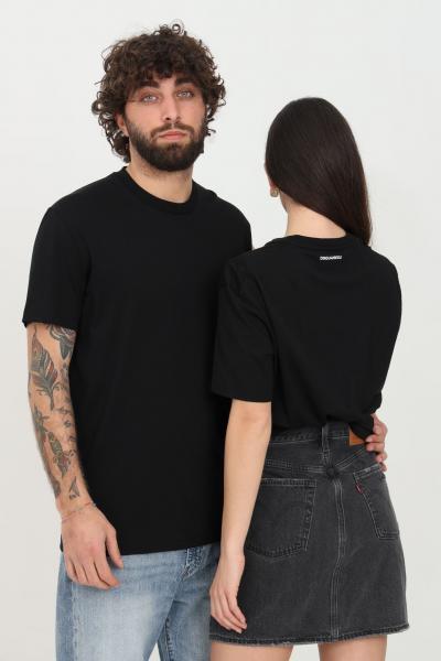 DSQUARED2 T-shirt unisex nero dsquared2 a manica corta con mini logo sul retro  T-shirt | D9X3C2370001