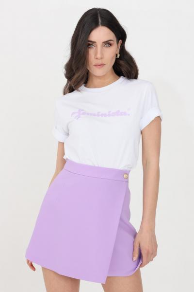 FEMINISTA T-shirt donna bianco-lavanda feminista a manica corta  T-shirt   SELENABIANCO-LILLA