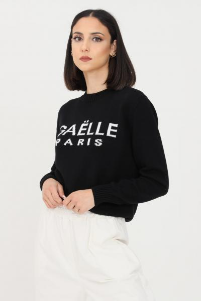 GAELLE Maglioncino donna nero gaelle con logo sul fronte  T-shirt | GBD8770NERO