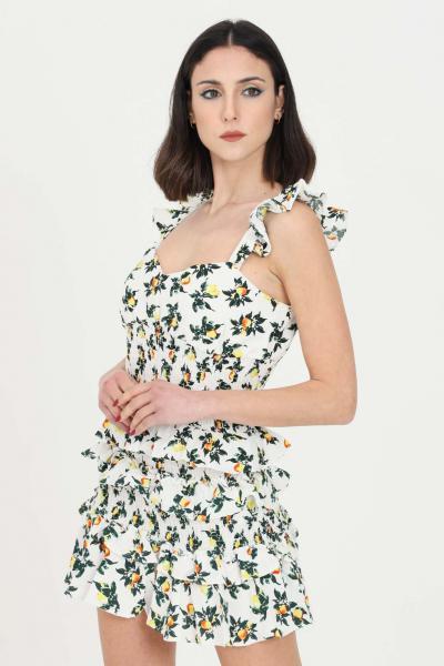 GLAMOROUS Top donna bianco Glamorous casual con stampa pattern flower. Modello con arriccio in vita  Top   AN3919LEMONANDPEARPRINT