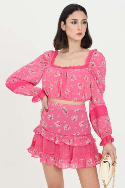 GLAMOROUS Top donna rosa Glamorous casual corto con trafori  Top   CK6027PINKFLORAL