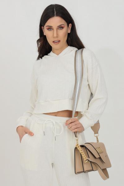 GLAMOROUS Felpa donna bianco Glamorous a costine con cappuccio.Tessuto leggero e morbido al tatto. Modello manica lunga con taglio corto  Felpe   SA0238WHITE