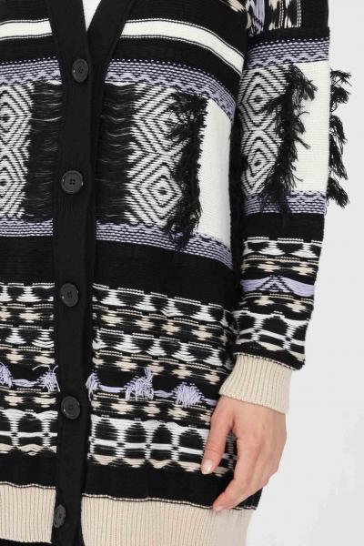 KONTATTO Cardigan donna nero kontatto in maglia con frange  Cardigan | 3M7235V06