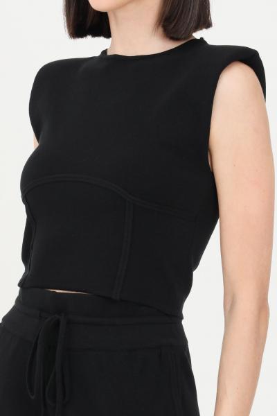 KONTATTO Top donna nero kontatto smanicato in maglia  T-shirt | 3M7258NERO
