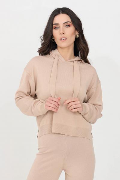 KONTATTO Felpa donna beige kontatto con cappuccio, modello in maglia  Felpe | 3M7266305