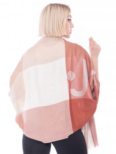 LIU JO Sciarpa stola donna rosa a quadri liu jo. Orli unfinished e maxi logo jacquard  Sciarpe   2A1027T030091250
