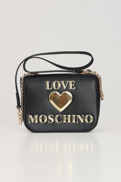 LOVE MOSCHINO Borsa donna nero love moschino con tracolla e logo oro frontale a contrasto  Borse | JC4052PP1C-LF0000