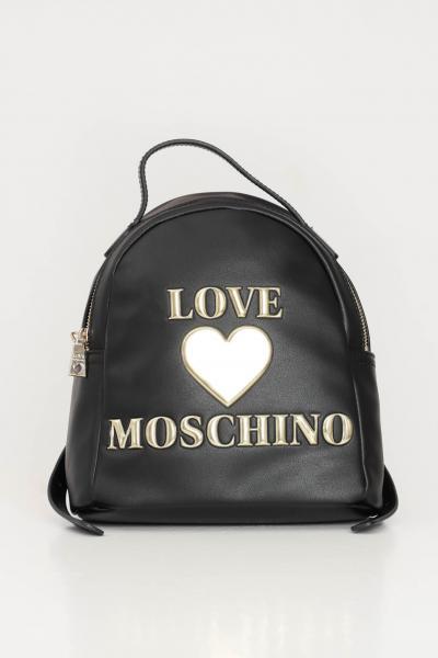 LOVE MOSCHINO Zaino donna nero love moschino con logo oro a rilievo  Zaini | JC4053PP1C-LF0000