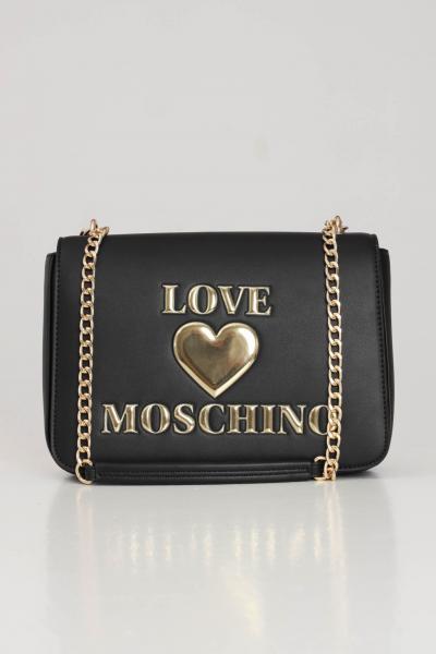 LOVE MOSCHINO Borsa donna nero love moschino con tracolla e maxi logo oro frontale  Borse | JC4054PP0C-LF0000