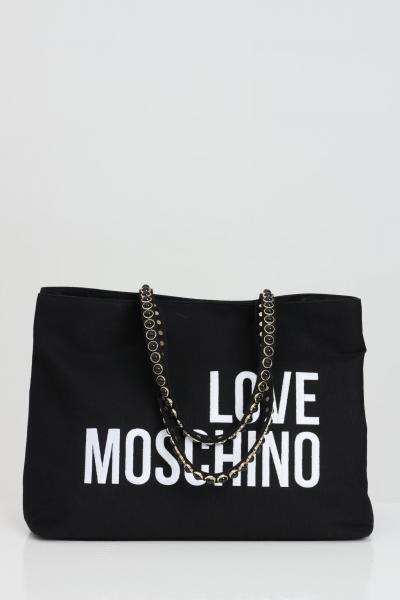 LOVE MOSCHINO Borsa donna nero love moschino shopper in tessuto con maxi logo frontale a contrasto. Manici con inserti in perle e chiusura magnetica  Borse | JC4078PP1C-LC0000
