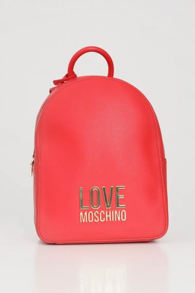 LOVE MOSCHINO Zaino donna rosso love moschino con logo frontale in oro  Zaini | JC4109PP1C-LJ050A