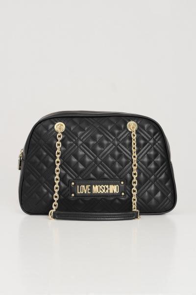 LOVE MOSCHINO Borsa donna nero love moschino con logo oro frontale  Borse | JC4205PP0C-KA0000