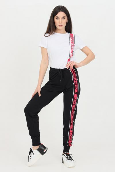 LOVE MOSCHINO Pantaloni donna nero love moschino casual con banda logata a contrasto  Pantaloni   W142421M4282C74