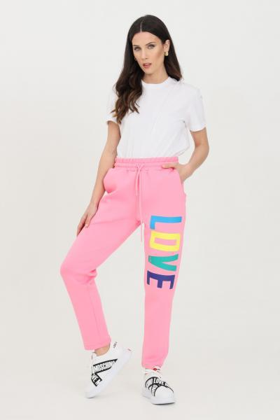 LOVE MOSCHINO Pantalone donna rosa love moschino casual con coulisse in vita e maxi stampa multicolor logo lettering  Pantaloni   W155602E2225N35
