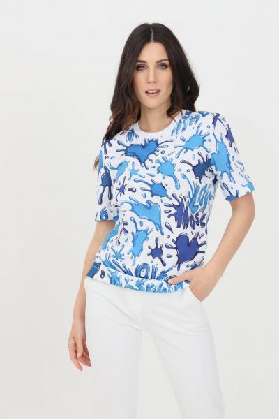 LOVE MOSCHINO T-shirt donna multicolor azzurro love moschino a manica corta  T-shirt   W4F1500M42830012