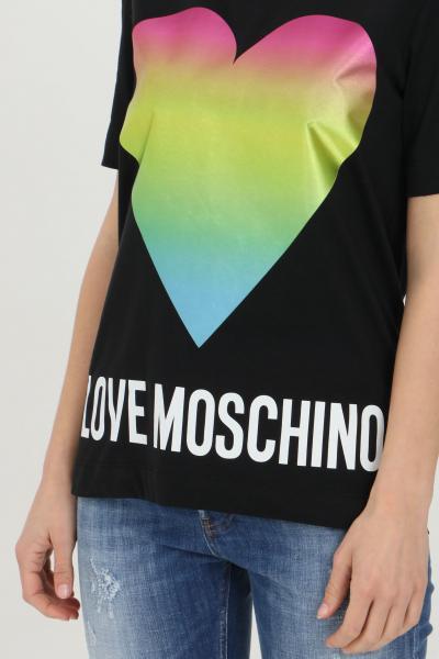 LOVE MOSCHINO T-shirt donna nero love moschino a manica corta con maxi logo olografico. Modello comodo  T-shirt | W4F152TM3876C74