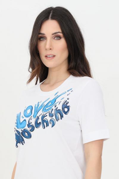 LOVE MOSCHINO T-shirt donna bianco-celeste love moschino a manica corta con stampa frontale  T-shirt | W4F152ZM38764023