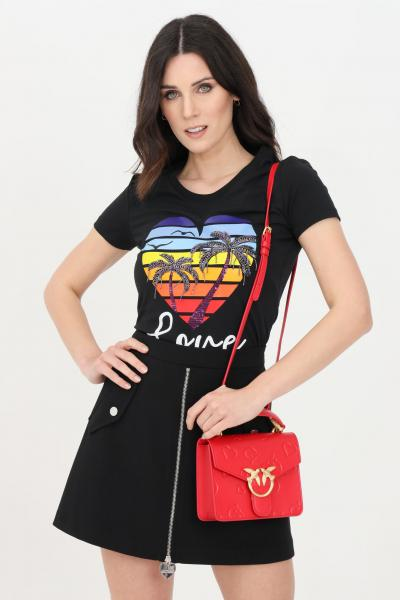 LOVE MOSCHINO T-shirt donna nero love moschino a manica corta con stampa tropical frontale  T-shirt   W4H1908E1951C74