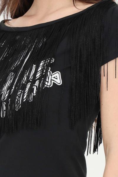 LOVE MOSCHINO T-shirt donna nero love moschino a manica corta con frange  T-shirt   W4H4201E1951C74