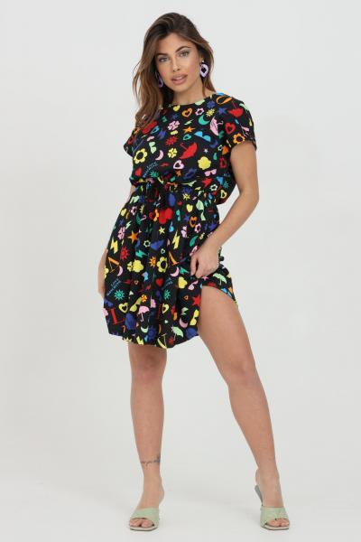 LOVE MOSCHINO Abito donna multicolor love moschino corto con elastico in vita e stampa pattern. Fondo svasato  Abiti | W5C0200M42680003