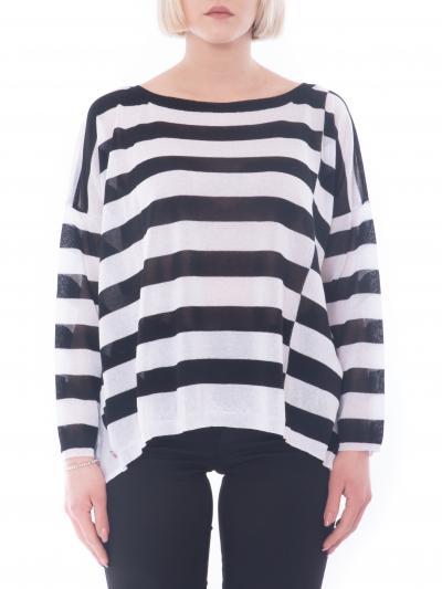 MANILA GRACE maglia bimateriale rigata  T-shirt   M507VIMA028