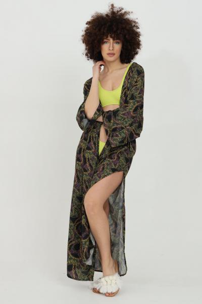 MATINèE Fuoriacqua copricostume donna verde militare matinee lungo con cintura in vita e stampa con catene. Spacchetti laterali e modello over-size  Abiti | DB2012.
