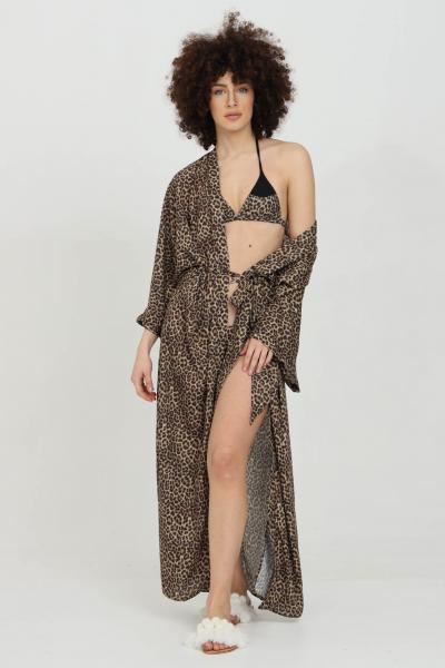MATINèE Fuoriacqua copricostume donna maculato matinee lungo con cintura in vita. Spacchetti laterali e modello over-size  Abiti | DB2013MACULATO