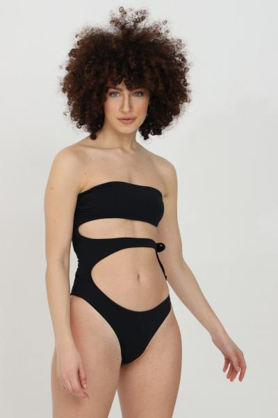 MATINèE Beachwear donna nero matinee costume intero con intagli centrali. Chiusura laterale. Top a fascia e schiena scoperta  Abbigliamento da spiaggia | EM2094NERO