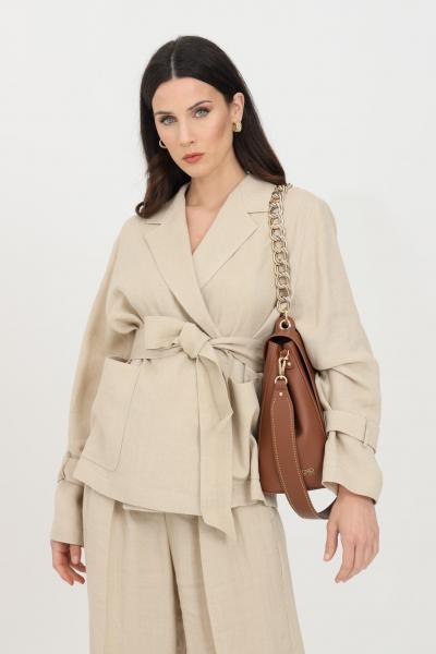 MAX MARA Giacca donna beige max mara con cintura in vita e colletto a lancia. Modello comodo con manica lunga e ampia  Giacche   60410611600001