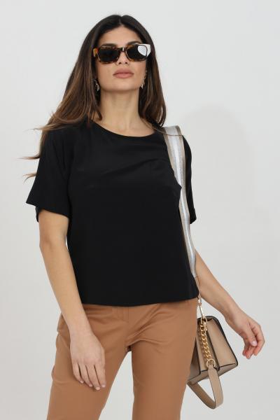 MAX MARA Blusa donna nera max mara a manica corta con taschino frontale, modello over  Bluse | 61110211600002