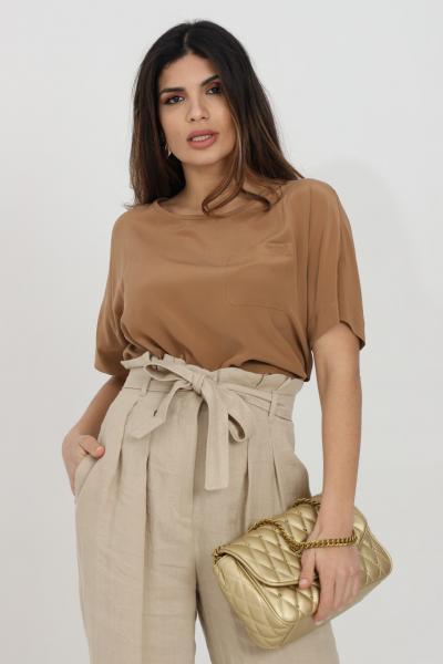 MAX MARA Blusa donna caramello max mara a manica corta con taschino frontale, modello over  Bluse | 61110211600021
