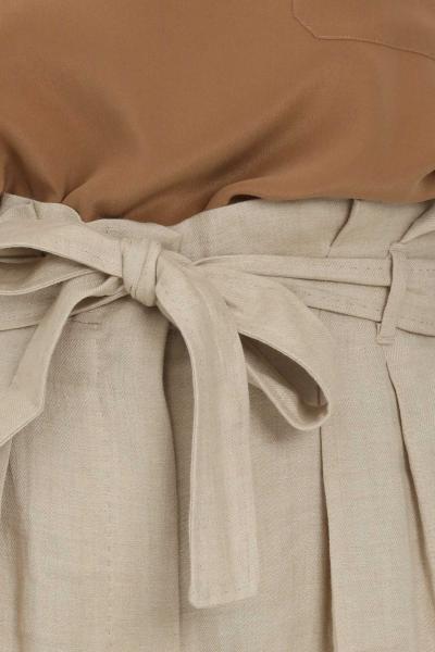 MAX MARA Pantalone donna beige max mara elegante a palazzo con arriccio in vita  Pantaloni   61310211600001