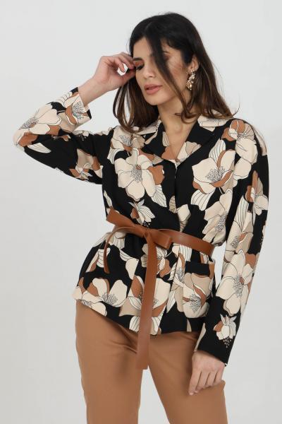 MAX MARA Blusa donna nera a fantasia max mara con stampa flower e cintura in ecopelle. Manica lunga ampia e colletto a lancia. Modello over  Bluse | 61910211600002