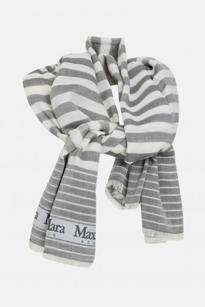 MAX MARA Sciarpa donna grigia max mara, stola in cotone con bande logate a contrasto  Sciarpe   65410111600006