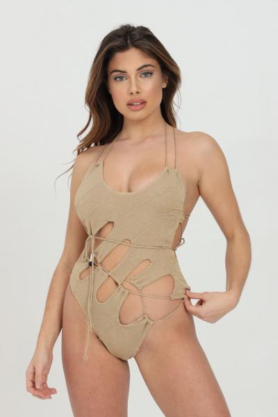 ME FUI Beachwear donna oro me fui costume intero con trama glitter. Tagli asimmetrici  Abbigliamento da spiaggia   M21-0203BGBG