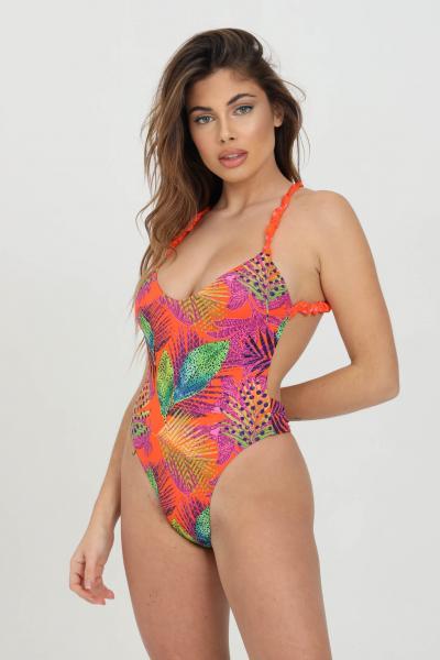 ME FUI Beachwear donna multicolor me fui costume intero con stampa tropical. Arriccio alle bretelle  Abbigliamento da spiaggia   M21-0484X1X1