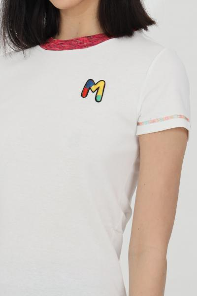 MISSONI T-shirt donna bianca missoni a manica corta con logo frontale ricamato. Orli multicolor ricamati. Modello slim  T-shirt | 2DL00088-2J002U14300