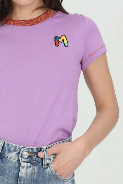 MISSONI T-shirt donna viola missoni a manica corta con logo frontale ricamato. Orli multicolor ricamati. Modello slim  T-shirt | 2DL00088-2J002U63520